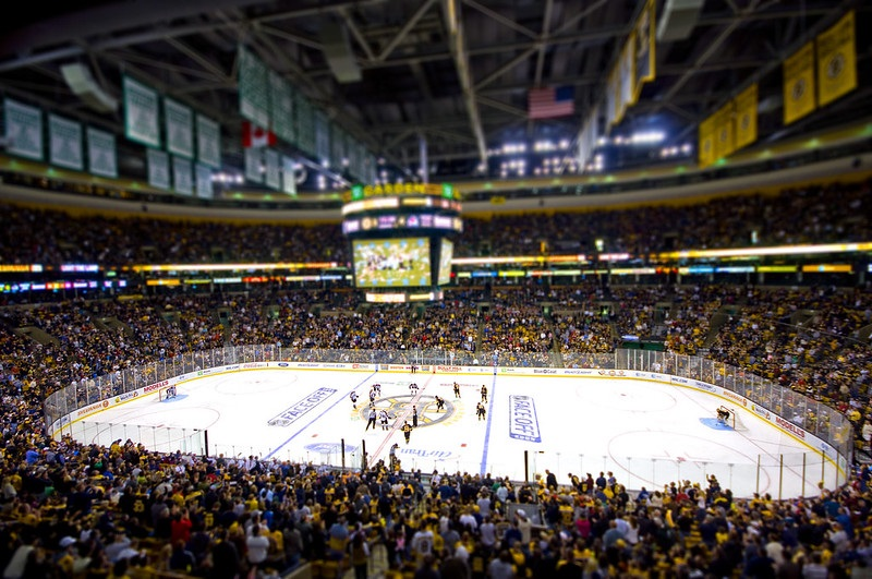 Photo of the ice at the TD Garden during a Boston Bruins game.