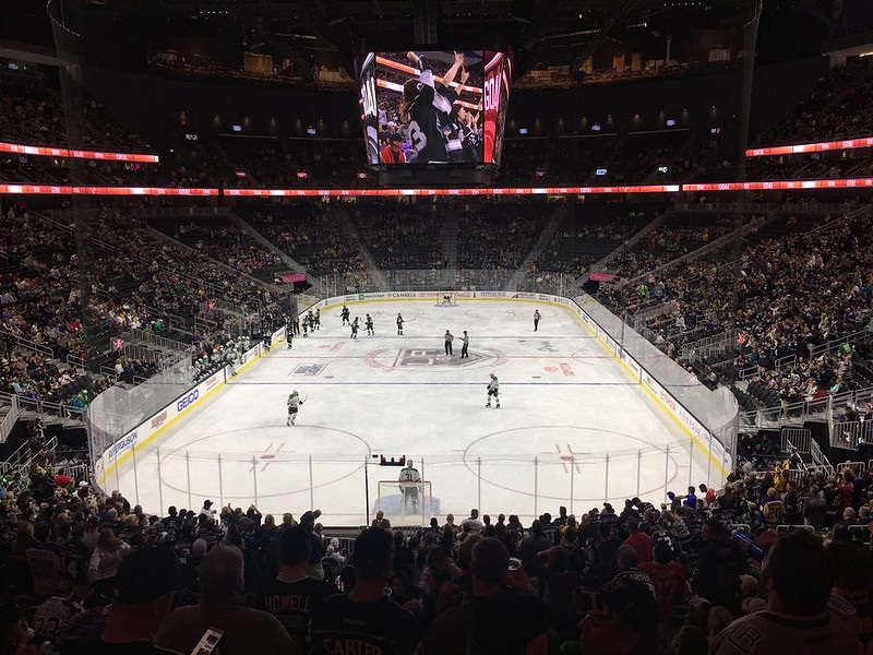 Photo of the ice at T-Mobile Arena, home of the Vegas Golden Knights.