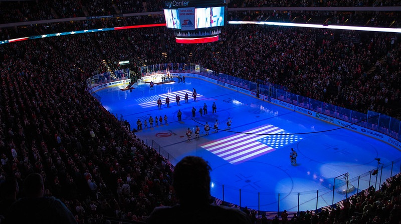 Photo of the ice at the Xcel Energy Center during a Minnesota Wild game.