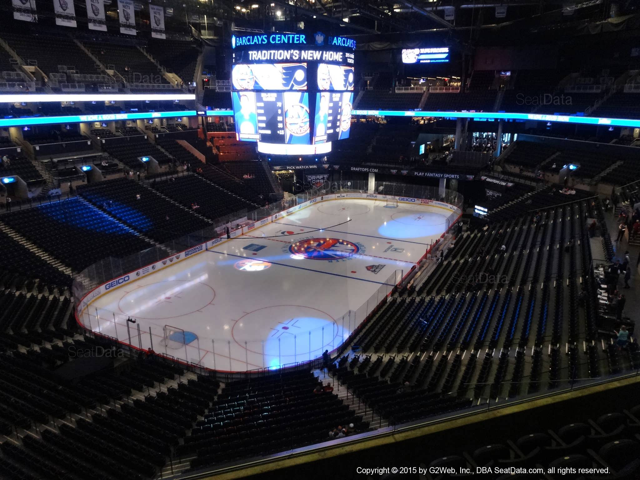 Seat View from Section 213 at the Barclays Center, home of the New York Islanders