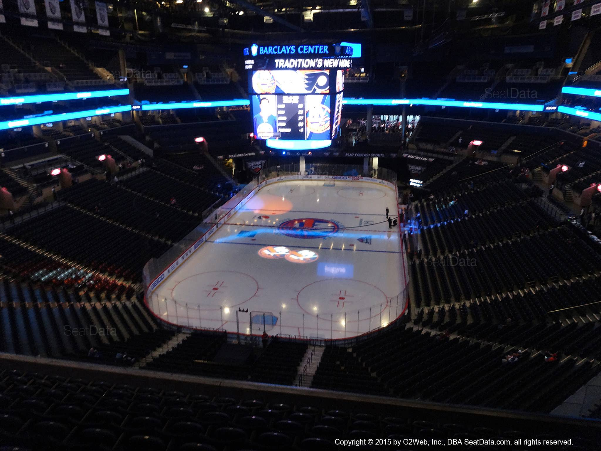 Seat View from Section 215 at the Barclays Center, home of the New York Islanders