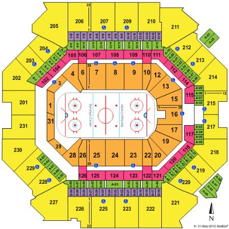 Barclays Center Seating Chart, New York Islanders hockey.