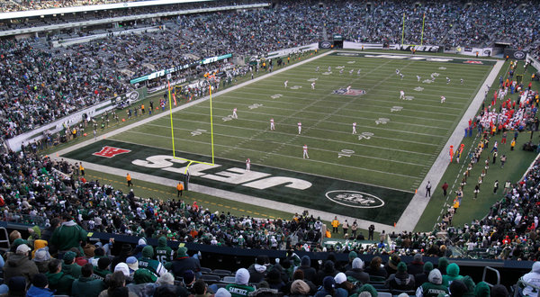 Photo of the field at Metlife Stadium during a New York Jets game.