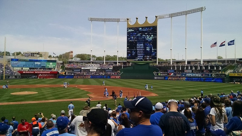 Photo taken from the field level seats at Kauffman Stadium during a Kansas City Royals home game.