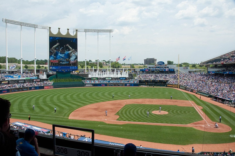 Photo taken from the loge level seats at Kauffman Stadium during a Kansas City Royals home game.