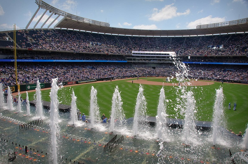 Photo of the outfield fountains at Kauffman Stadium. Home of the Kansas City Royals.