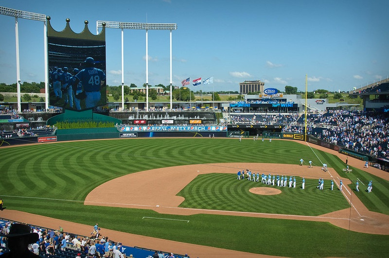 Photo taken from the plaza level seats at Kauffman Stadium during a Kansas City Royals home game.