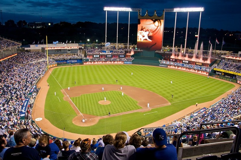 Photo taken from the view level seats at Kauffman Stadium during a Kansas City Royals home game.