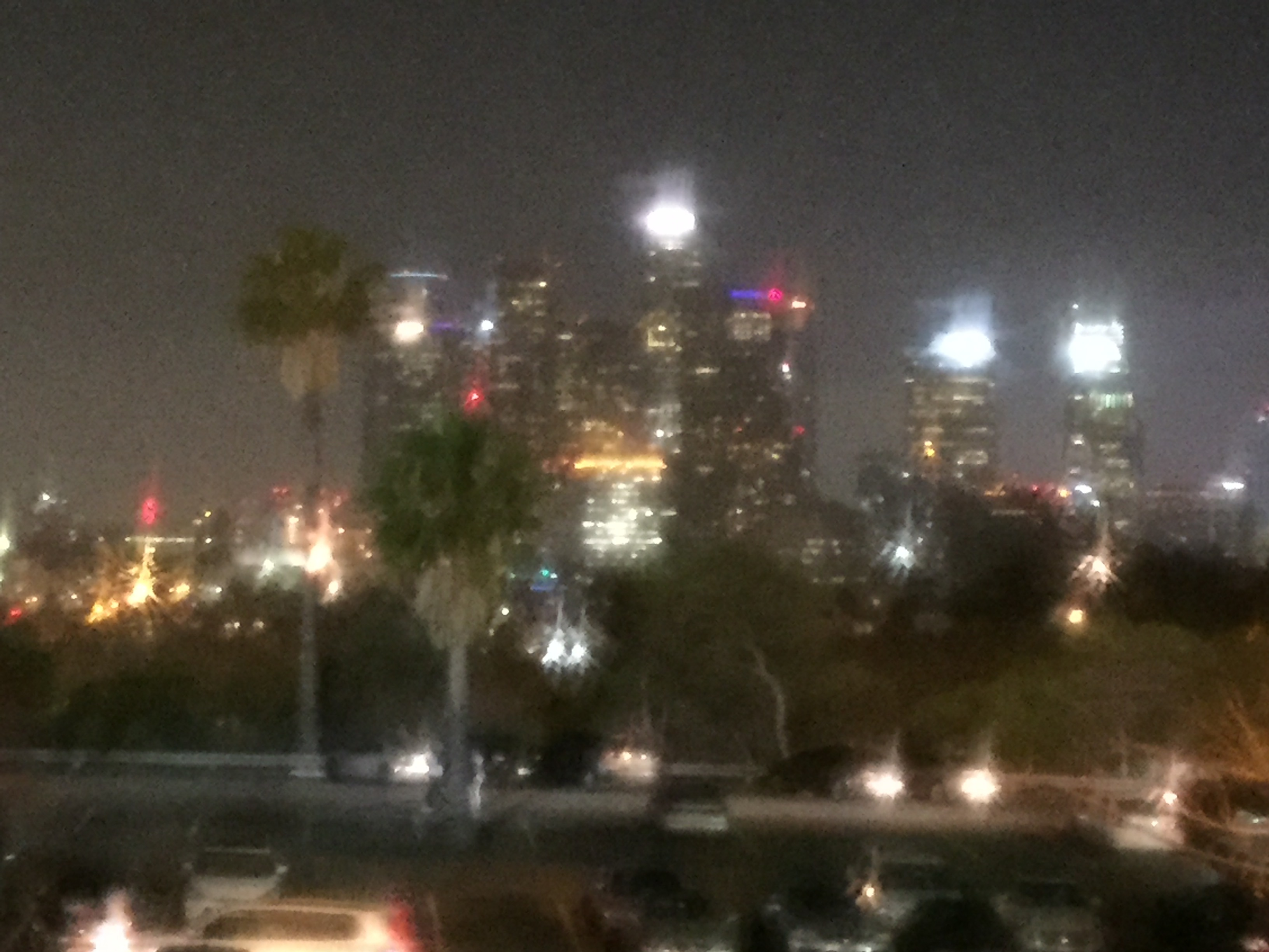 Photo of downtown Los Angeles from Dodger Stadium.