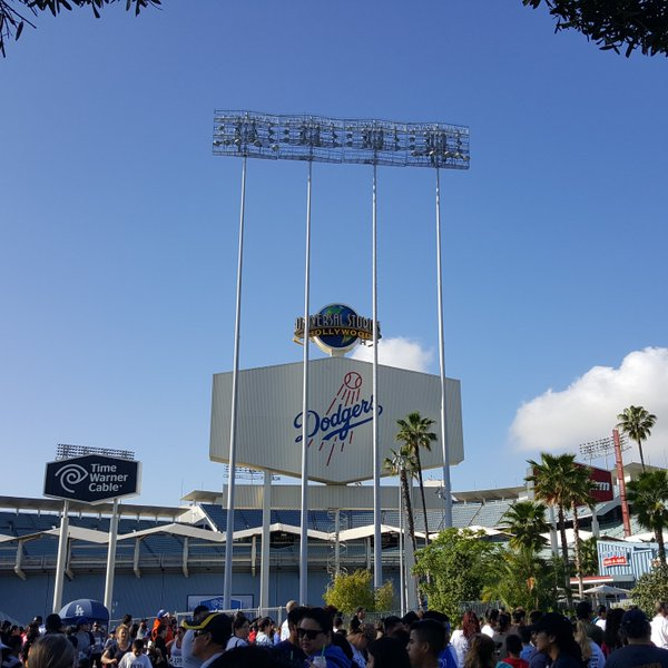Exterior photo of Dodger Stadium from the parking lot.