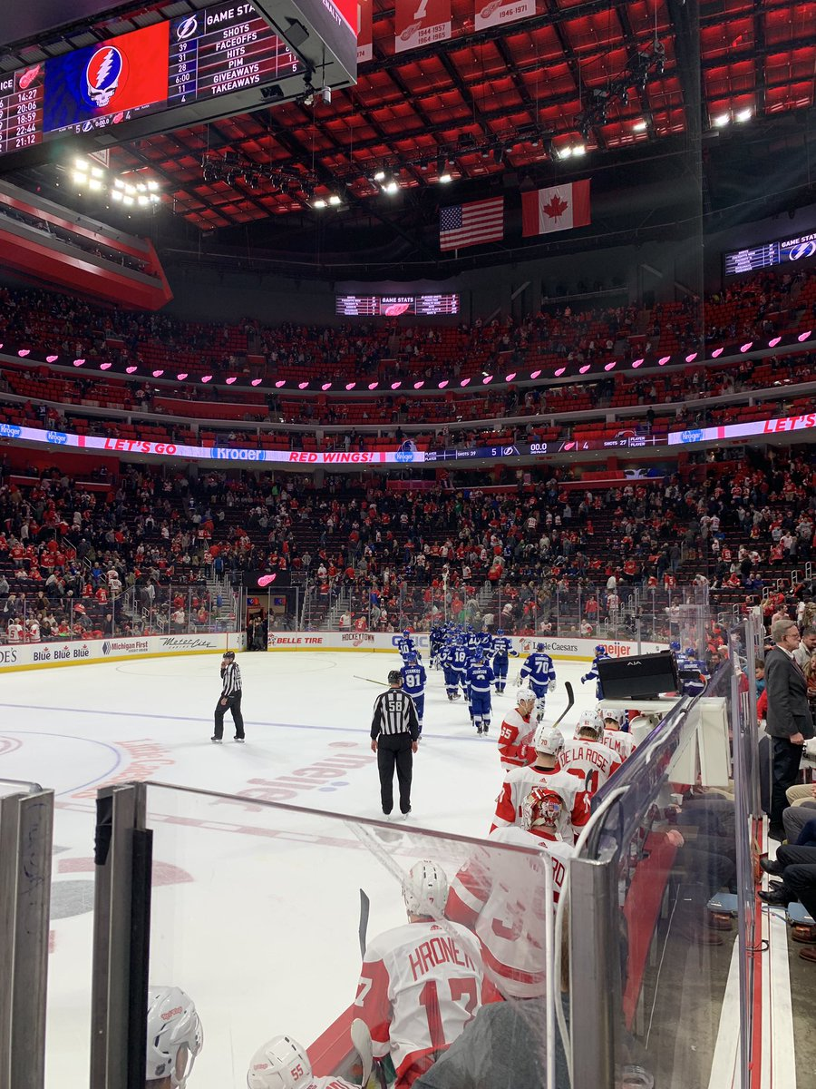 View from the Comerica Players Club seats at Little Caesars Arena during a Detroit Red Wings game.