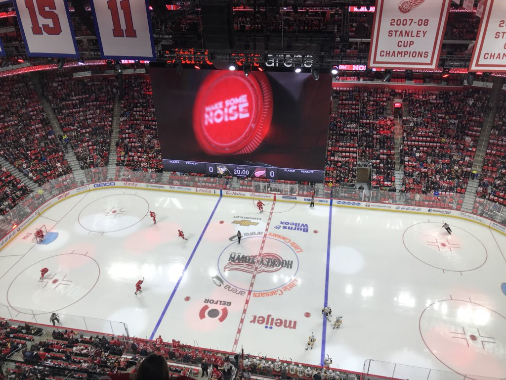 View from the Gondola seats at Little Caesars Arena during a Detroit Red Wings game.