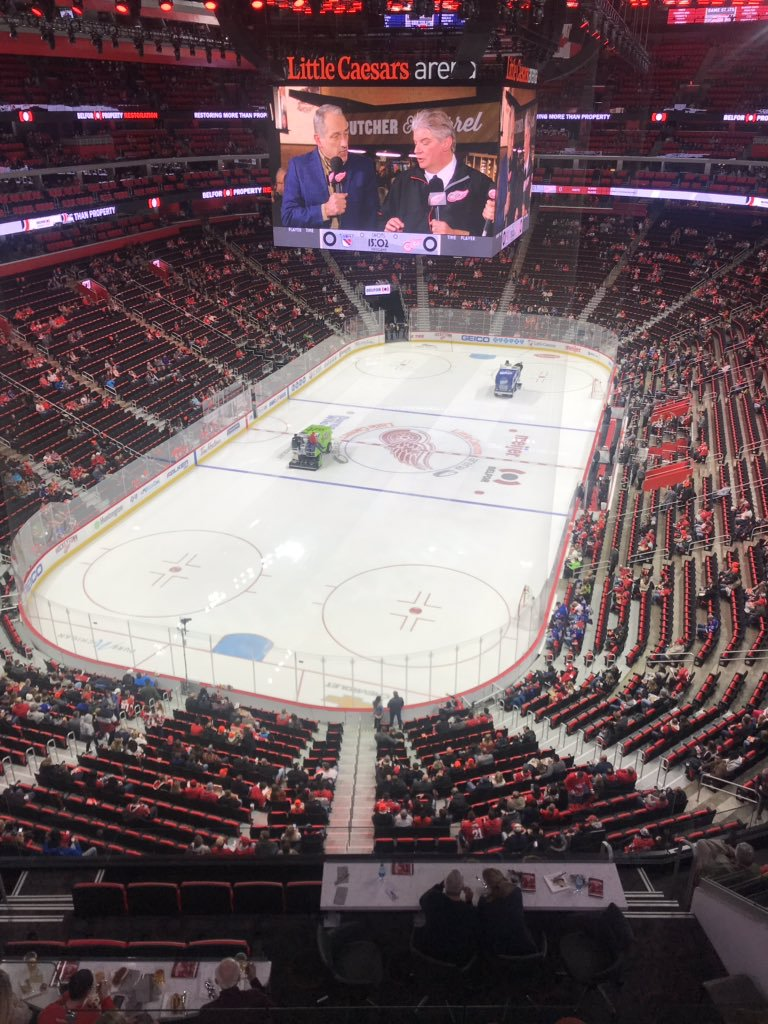 View from the Labatt Blue Club at Little Caesars Arena during a Detroit Red Wings game.