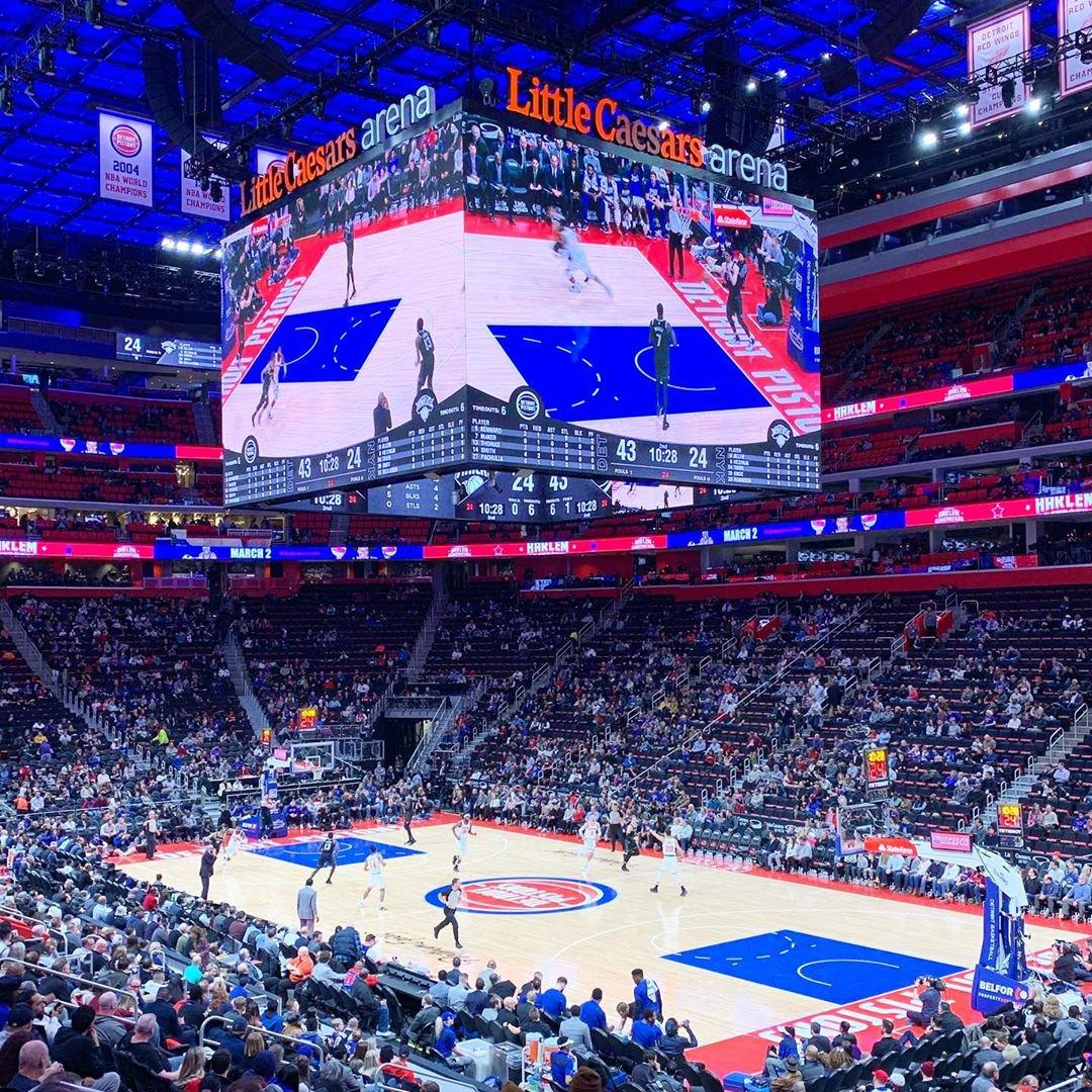 View from the loge box seats at Little Caesars Arena during a Detroit Pistons game.