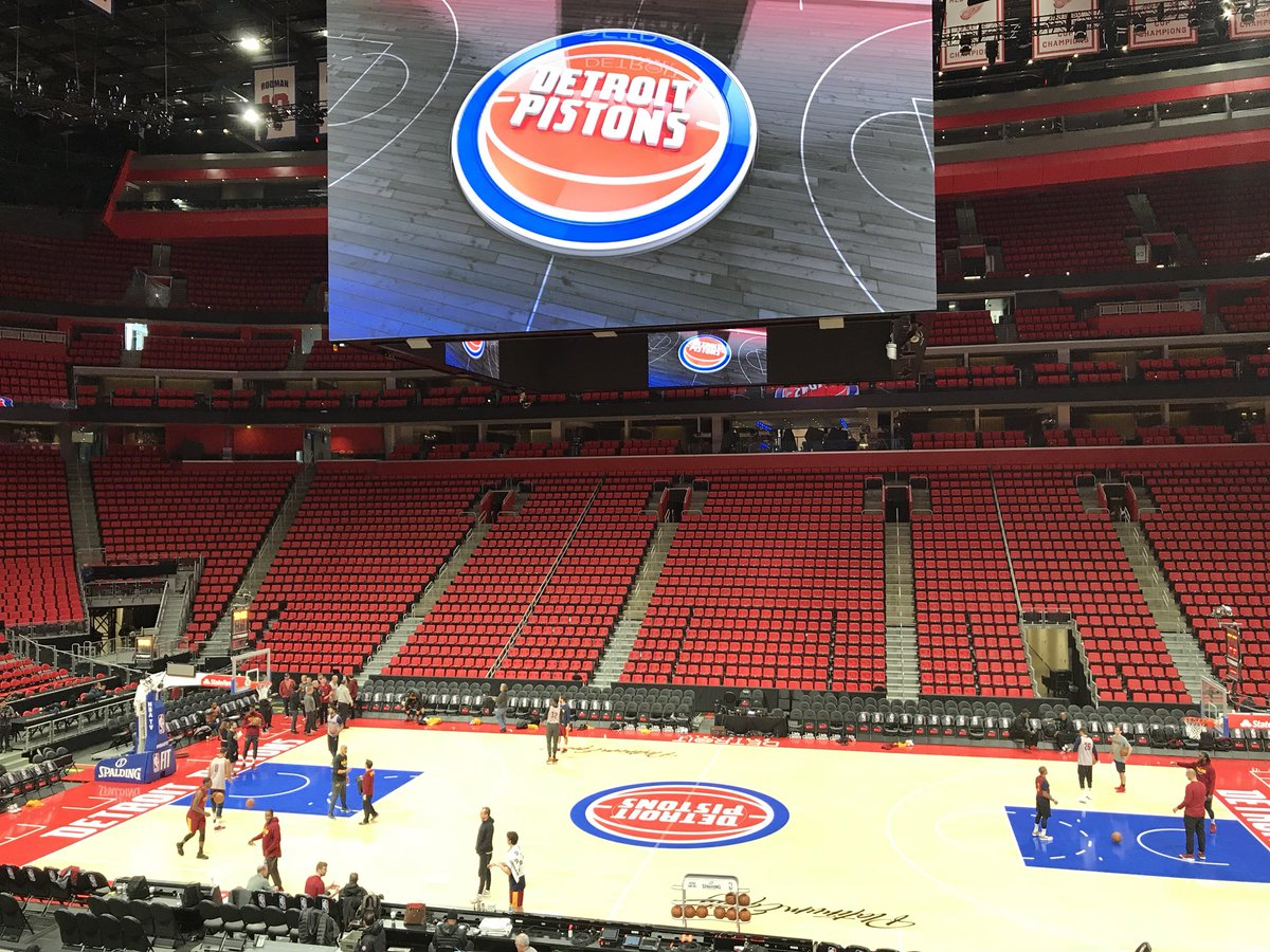 View of Little Caesars Arena from the lower level seats before a Detroit Pistons game.