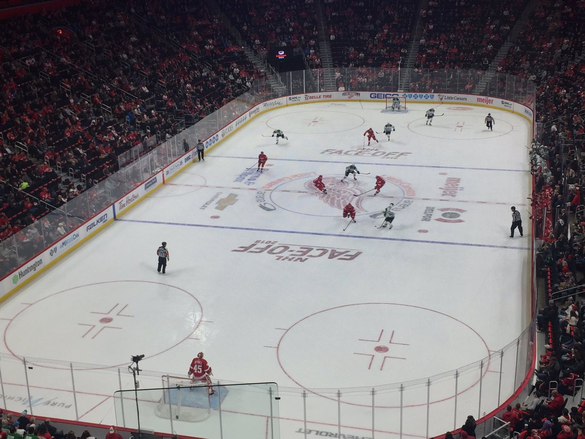 View from the mezzanine seats at Little Caesars Arena during a Detroit Red Wings game.