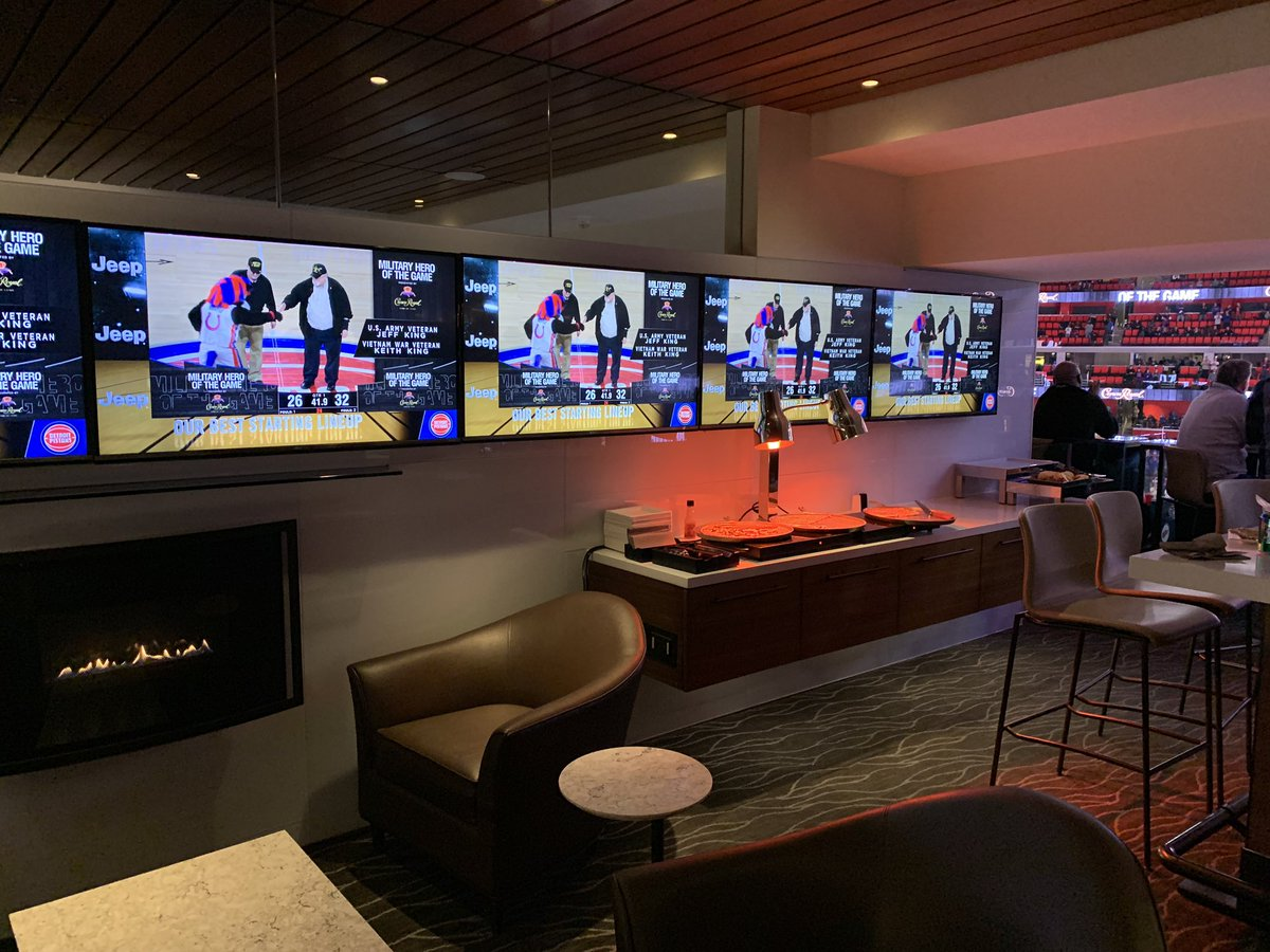 View of the interior of a Blue Cross Suite at Little Caesars Arena in Detroit, Michigan.