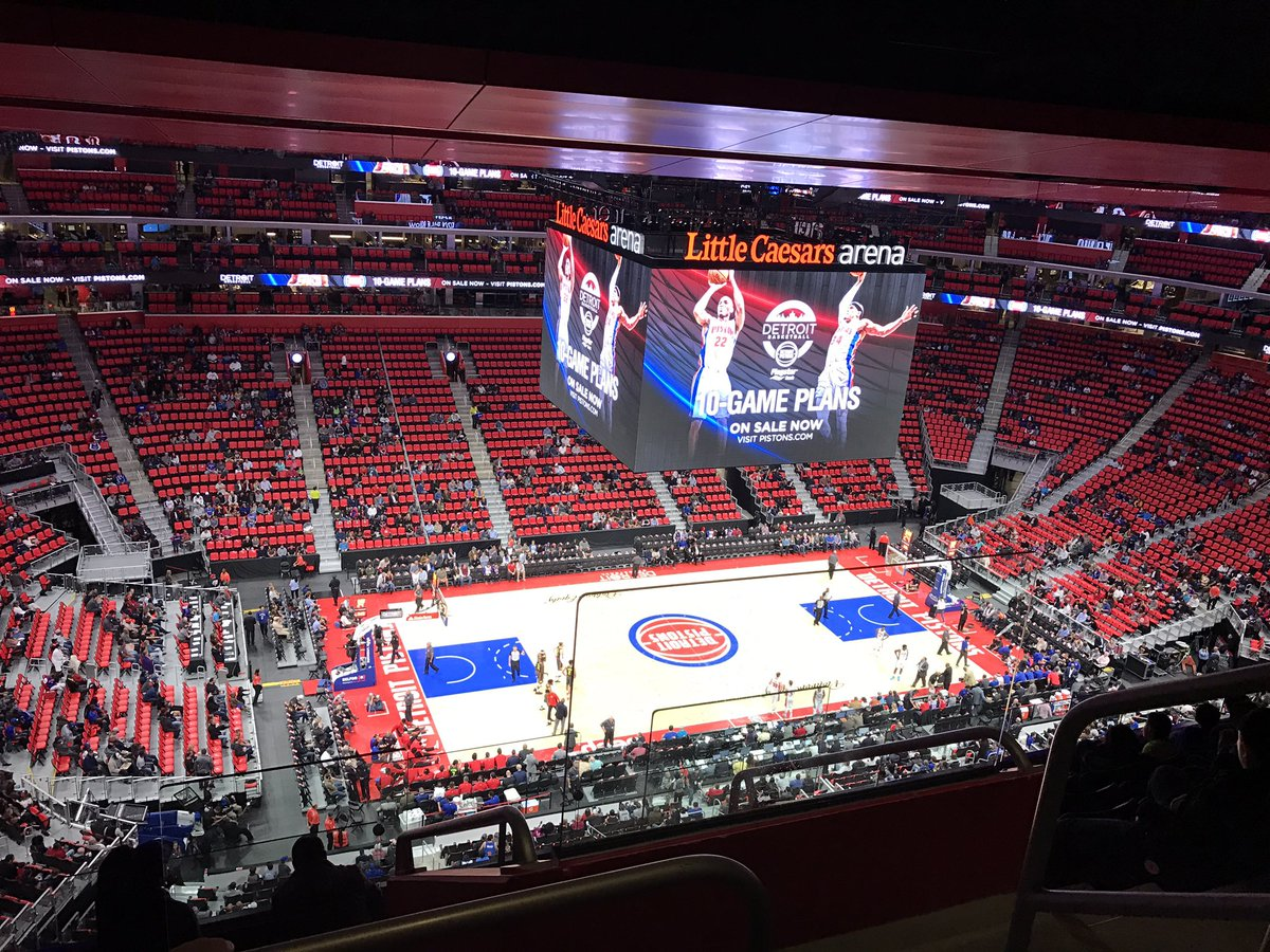 View from the upper level seats at Little Caesars Arena during a Detroit Pistons game.