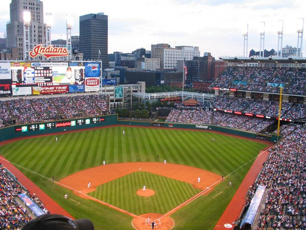 Photo of the field at Progressive Field, home of the Cleveland Indians.
