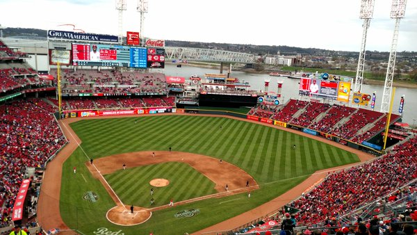 Photo of the field at Great American Ballpark, home of the Cincinnati Reds.