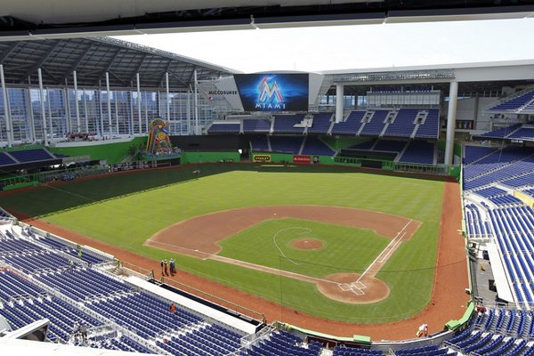 Photo of the field at Marlins Park, home of the Miami Marlins.