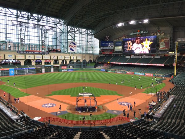 Photo of the field at Minute Maid Park, home of the Houston Astros.