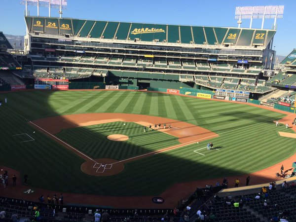 Photo of the field at Oakland Coliseum, home of the Oakland Athletics.