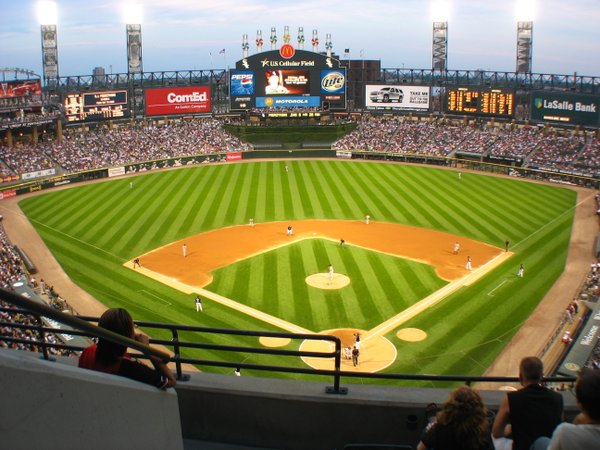 Photo of U.S. Cellular Field from the upper level, Home of the Chicago White Sox.