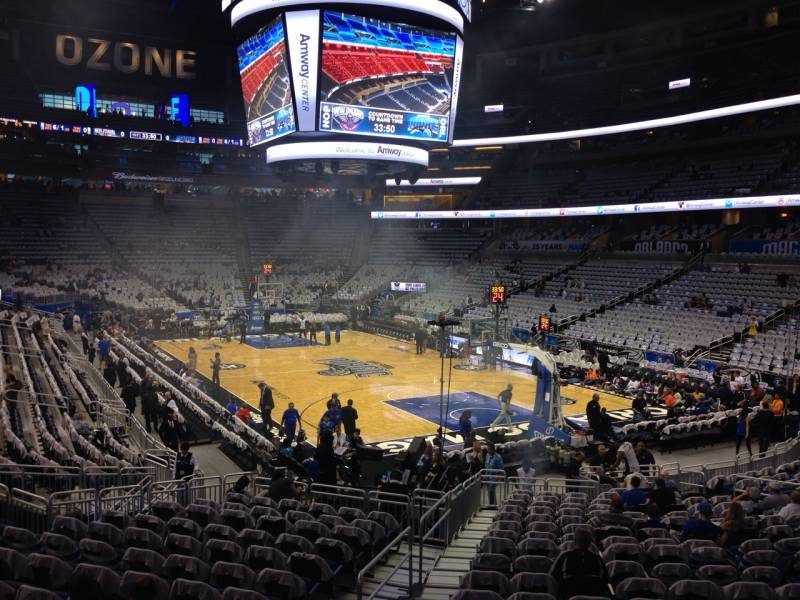 Seat view from section 111 at the Amway Center, home of the Orlando Magic.