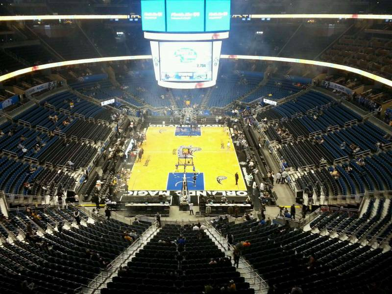 Seat view from section 201 at the Amway Center, home of the Orlando Magic.