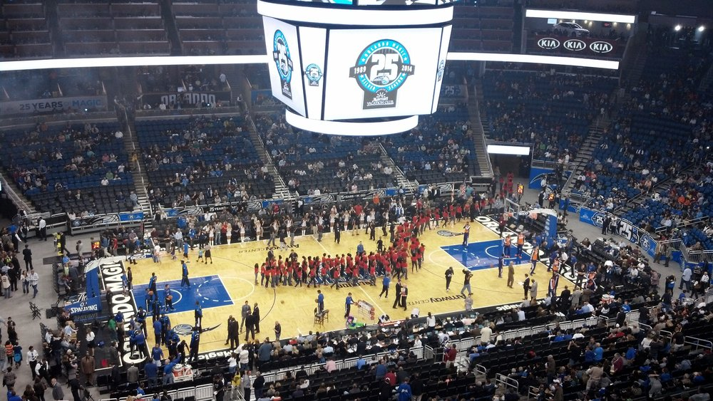 Seat view from section 210 at the Amway Center, home of the Orlando Magic.