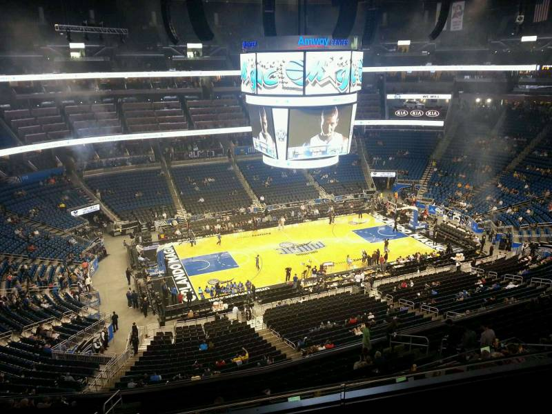Seat view from section 211 at the Amway Center, home of the Orlando Magic.