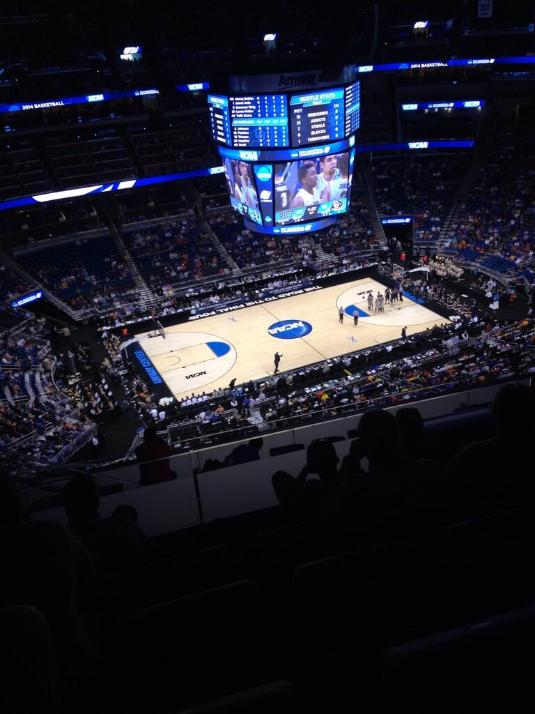Seat view from section 212 at the Amway Center, home of the Orlando Magic.
