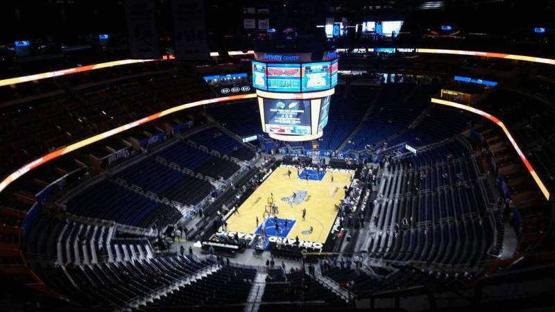 Seat view from section 216 at the Amway Center, home of the Orlando Magic.