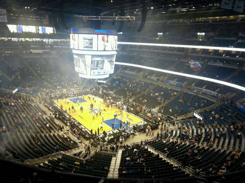 Seat view from section 220 at the Amway Center, home of the Orlando Magic.