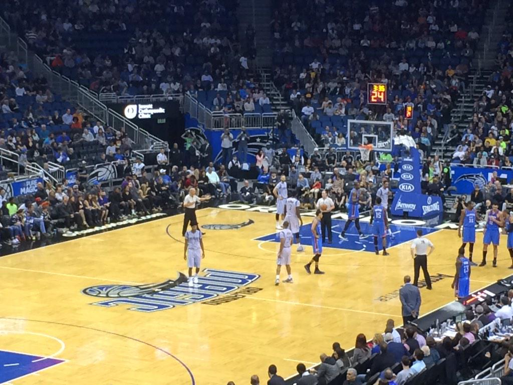 Seat view from club F at the Amway Center, home of the Orlando Magic.