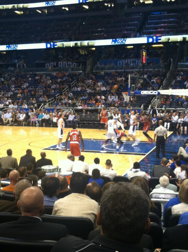 Seat view from section 104 at the Amway Center, home of the Orlando Magic.