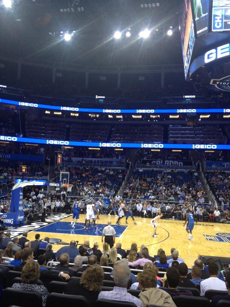Seat view from section 106 at the Amway Center, home of the Orlando Magic.