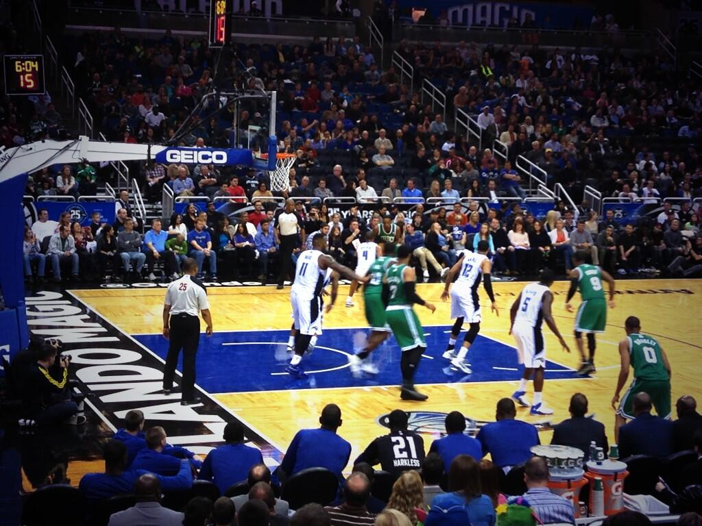 Seat view from section 107 at the Amway Center, home of the Orlando Magic.