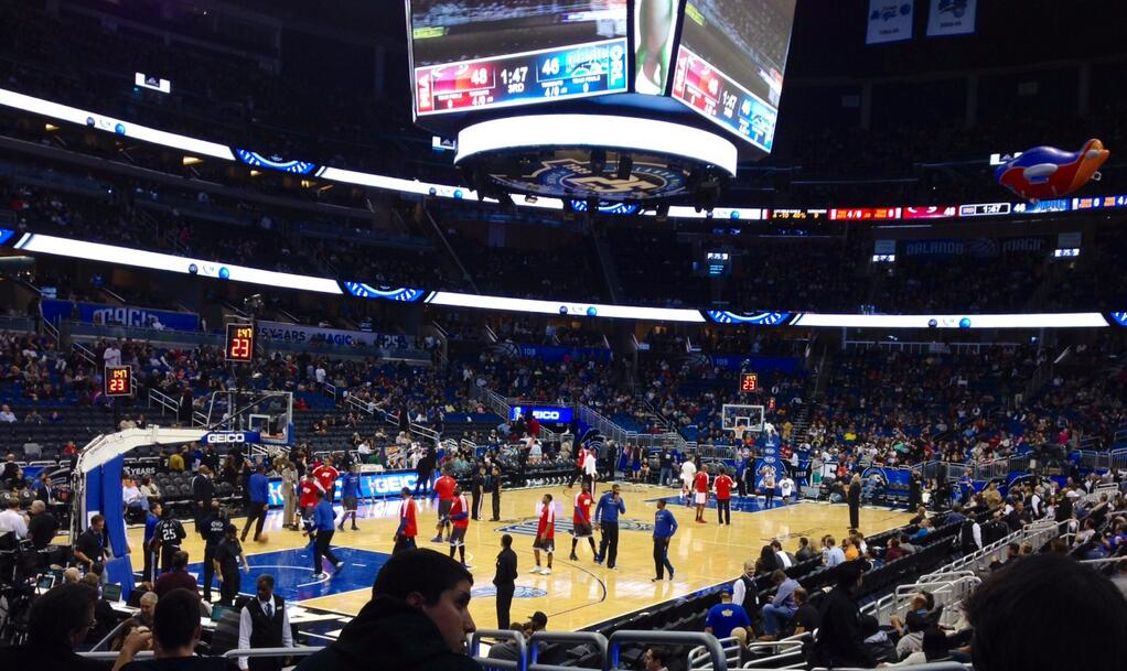 Seat view from section 117 at the Amway Center, home of the Orlando Magic.