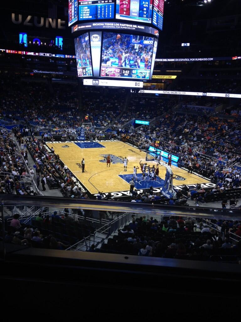 Seat view from section 203 at the Amway Center, home of the Orlando Magic.