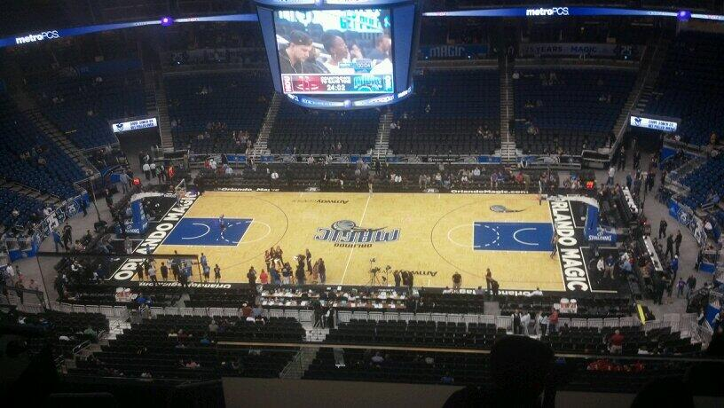 Seat view from section 208 at the Amway Center, home of the Orlando Magic.