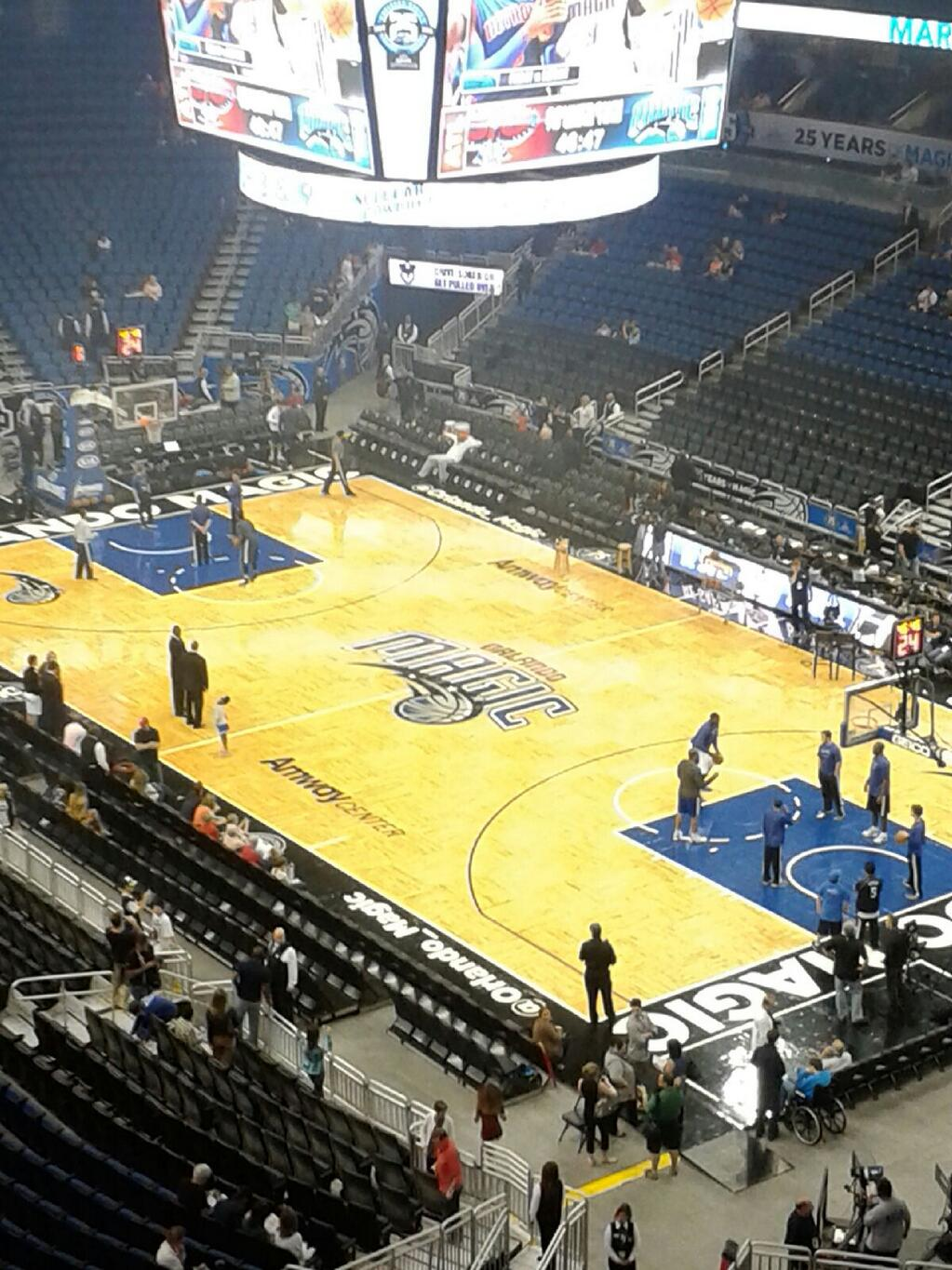 Seat view from section 221 at the Amway Center, home of the Orlando Magic.