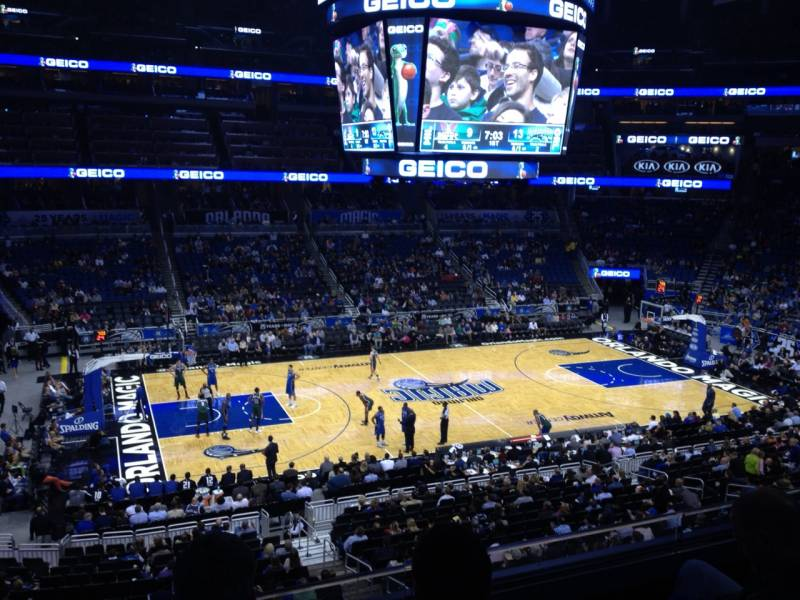 Seat view from club E at the Amway Center, home of the Orlando Magic.