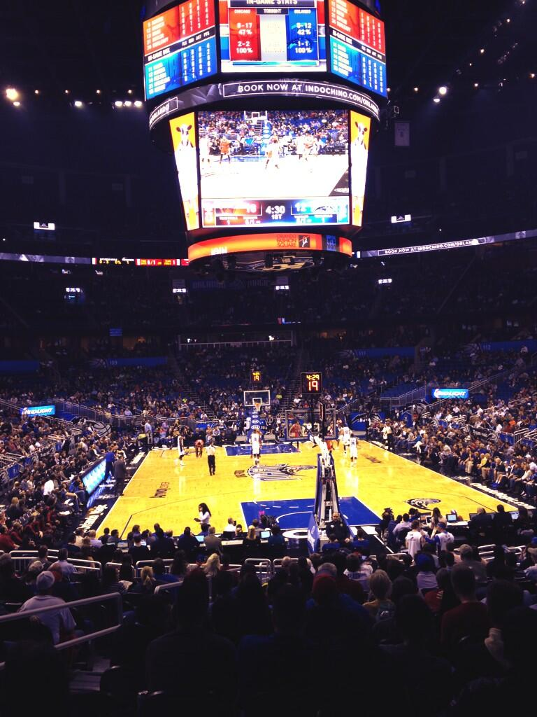 Seat view from section 101 at the Amway Center, home of the Orlando Magic.
