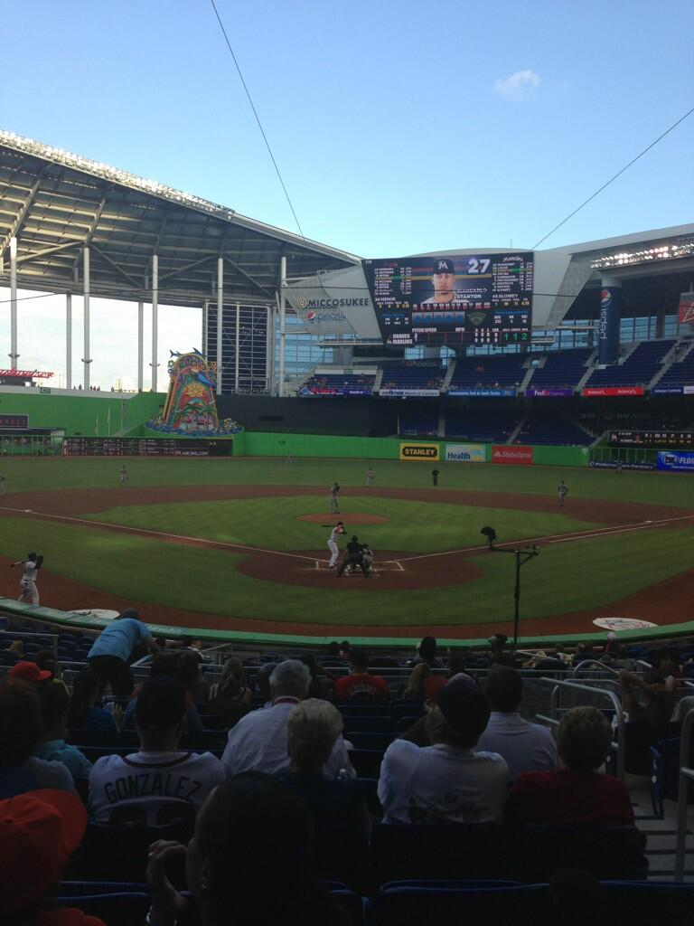 Seat view from section 14 at Marlins Park, home of the Miami Marlins