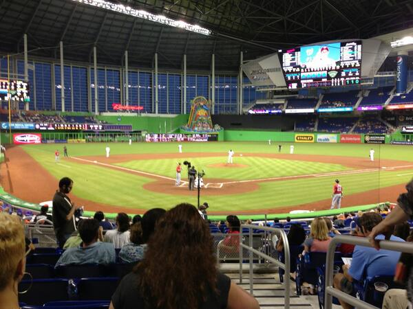 Seat view from section 13 at Marlins Park, home of the Miami Marlins