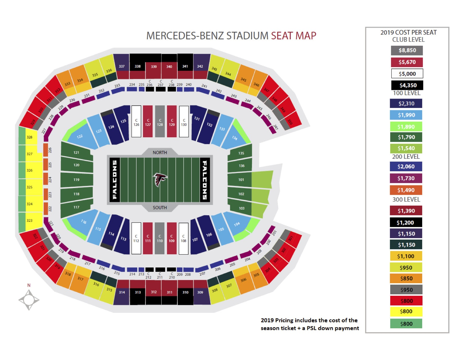 Mercedes-Benz Stadium Seating Chart, Atlanta Falcons