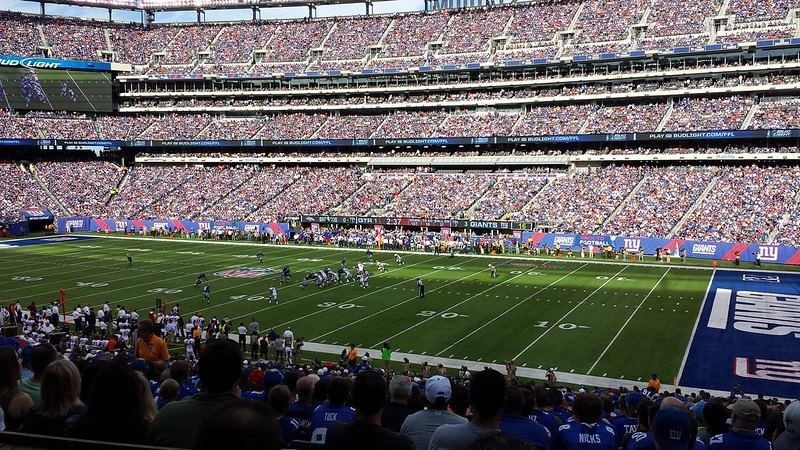 Photo taken from the lower level seats at Metlife Stadium during a New York Giants game.