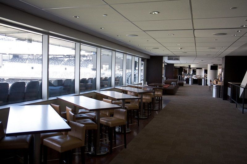 Photo of the United Rentals Club lounge area at Metlife Stadium. Home of the New York Jets and New York Giants.